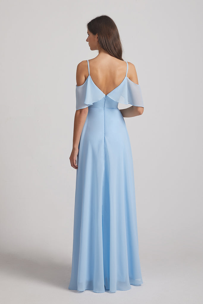 straps off shoulder bridesmaid dresses