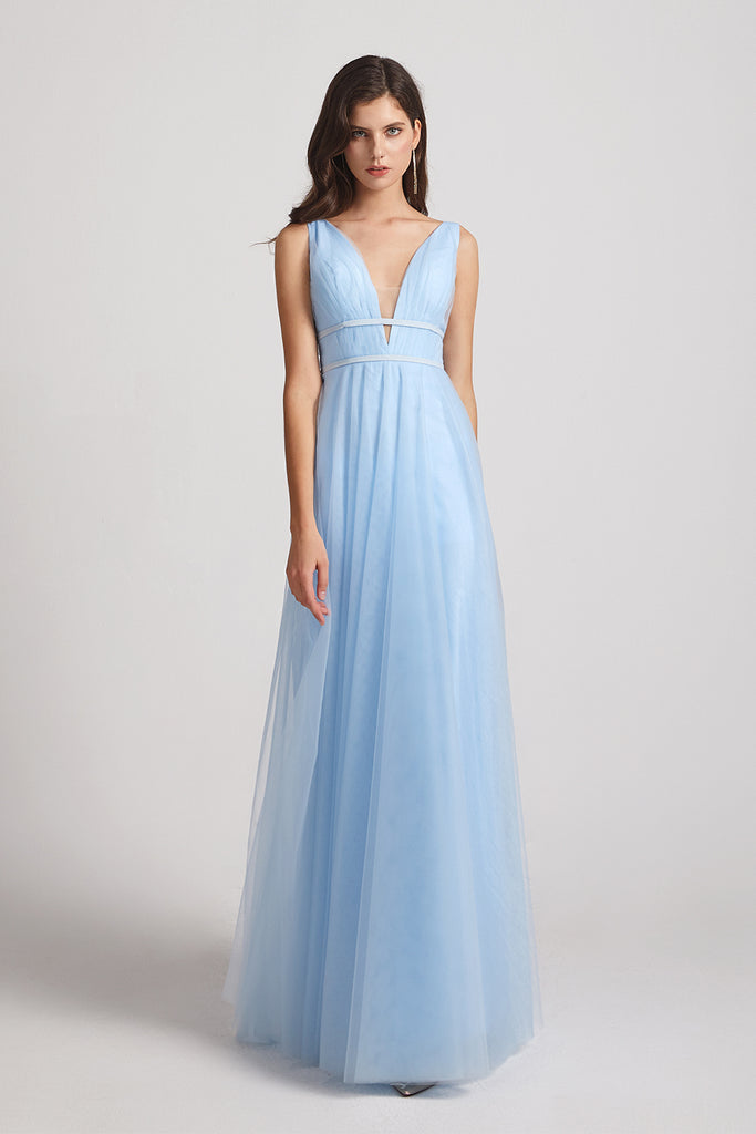 a-line blue long bridesmaid gowns