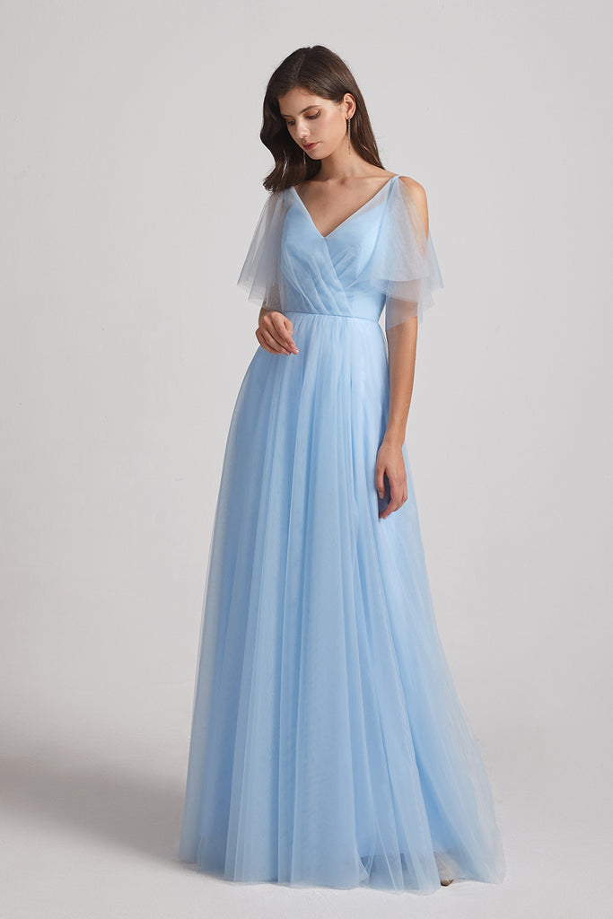 boho flutter sleeve a-line tulle bridesmaid dress