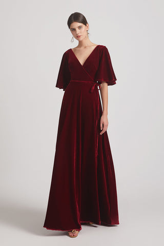Elbow Length Flutter Sleeves Velvet GOwns