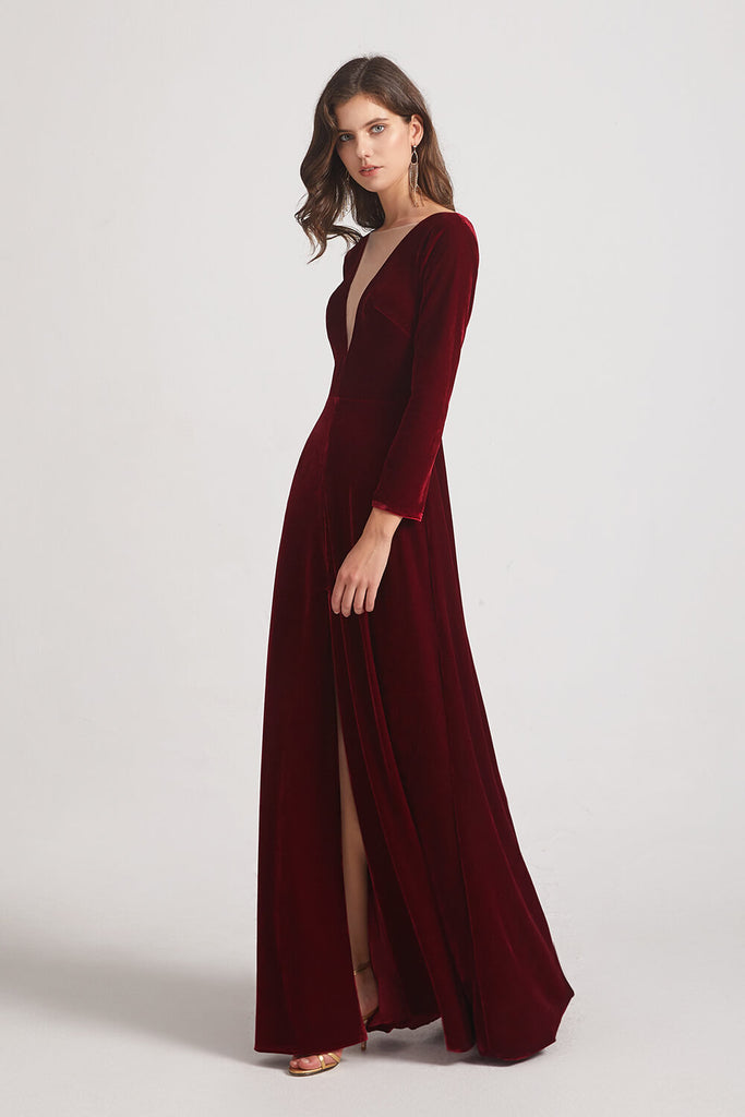 Front Slit Velvet Bridesmaid Dresses