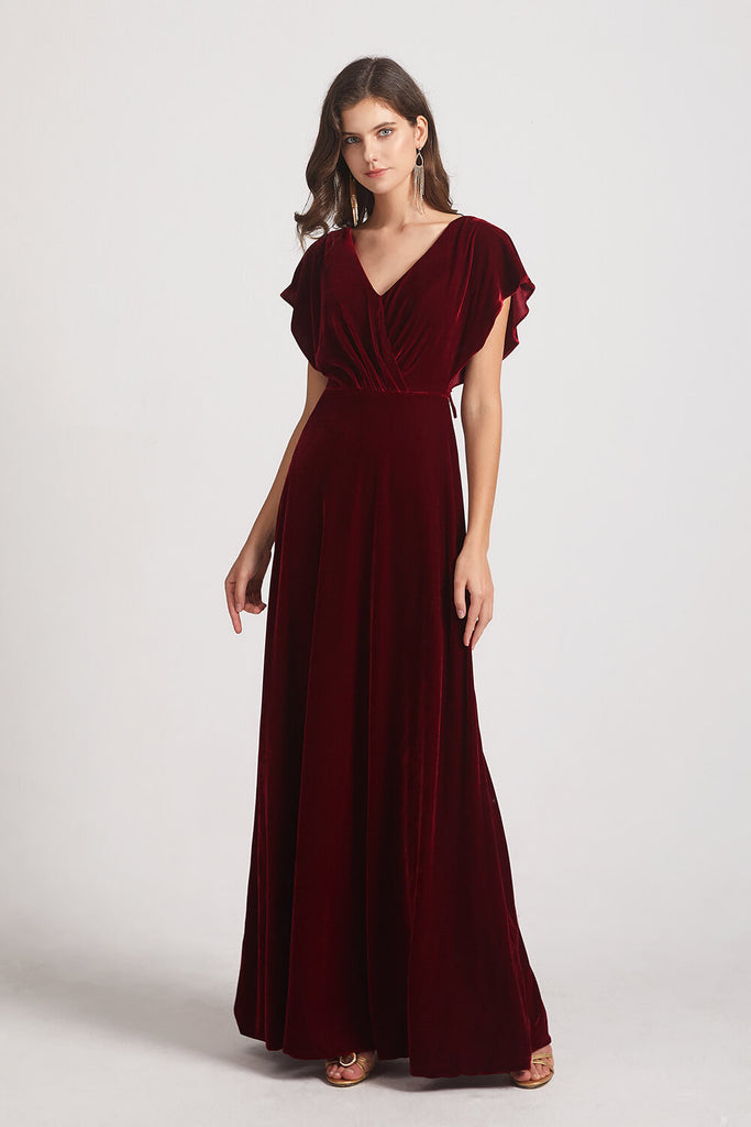 Ruffle Velvet Bridesmaid Dresses