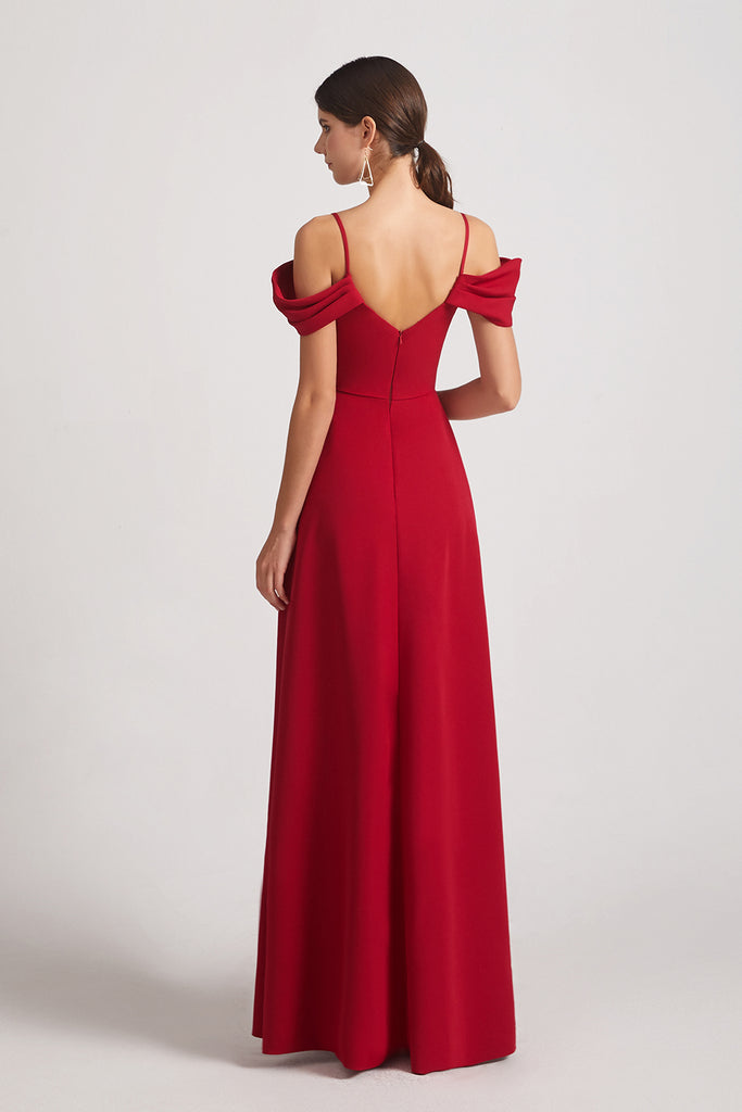 open back satin maxi a-line bridesmaid gowns