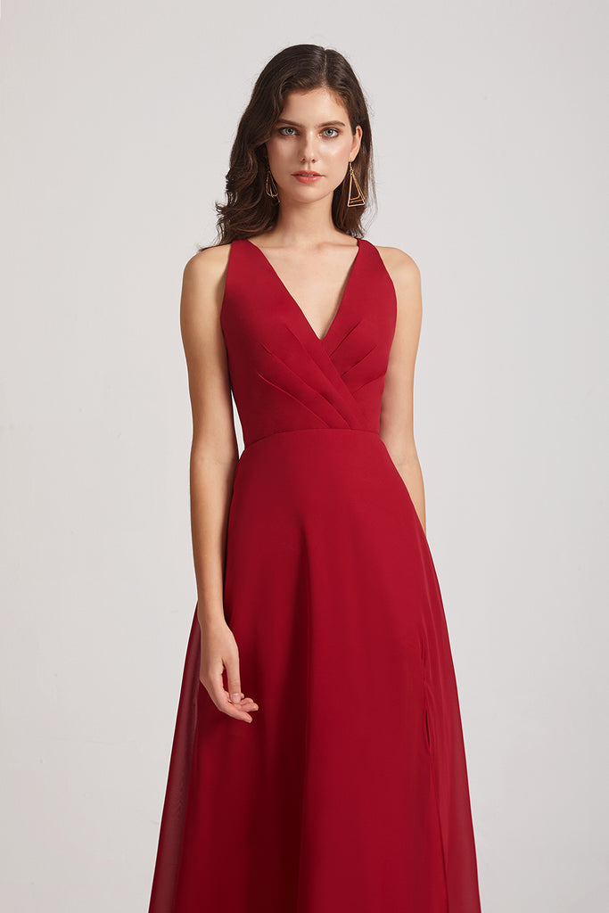 v-neck red chiffon maids of honor dresses