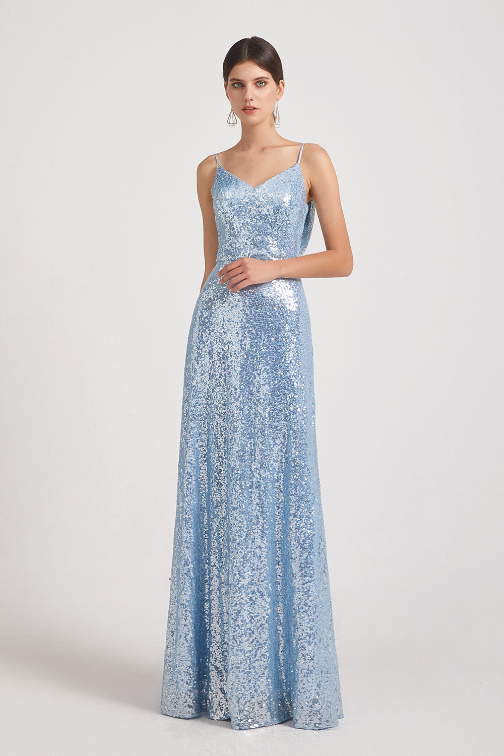 spaghetti straps v-neck sequin bridesmaid dress