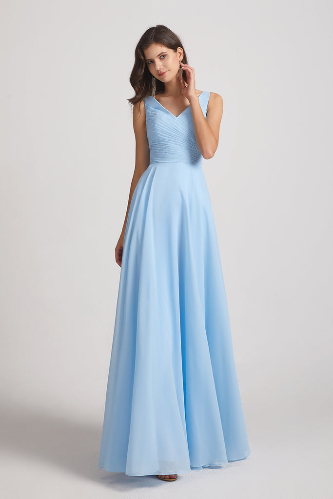 pleated a-line floor length dresses
