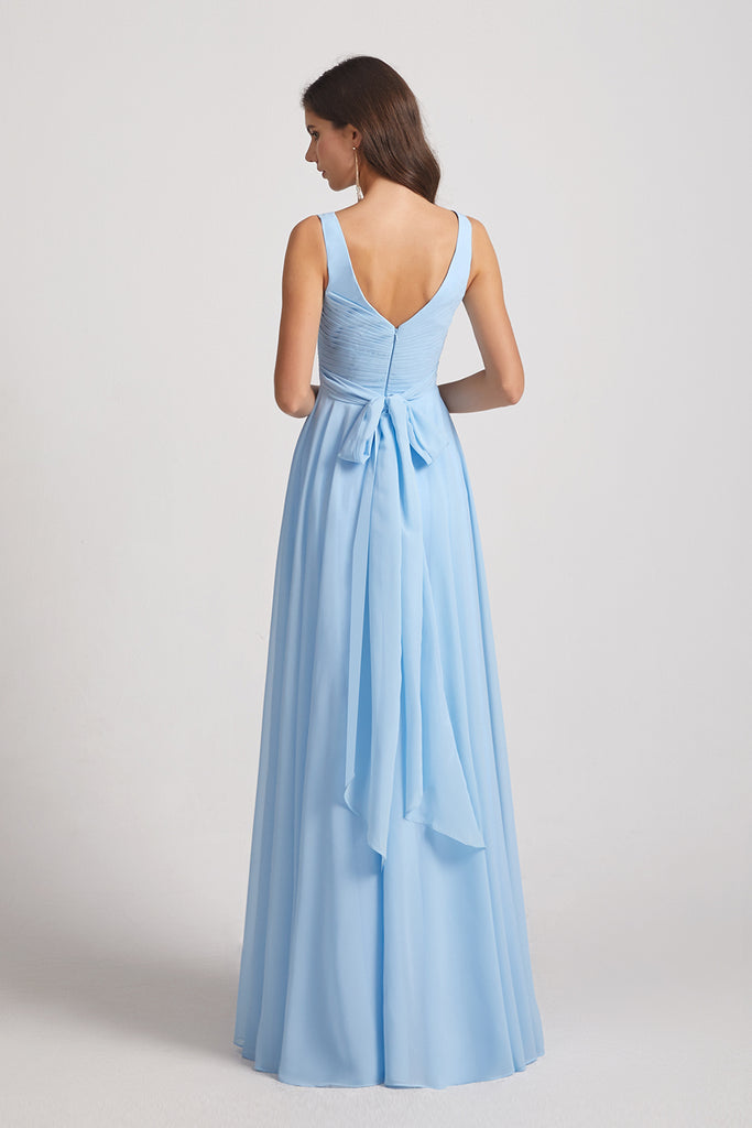 v back chiffon a-line bridesmaid dress