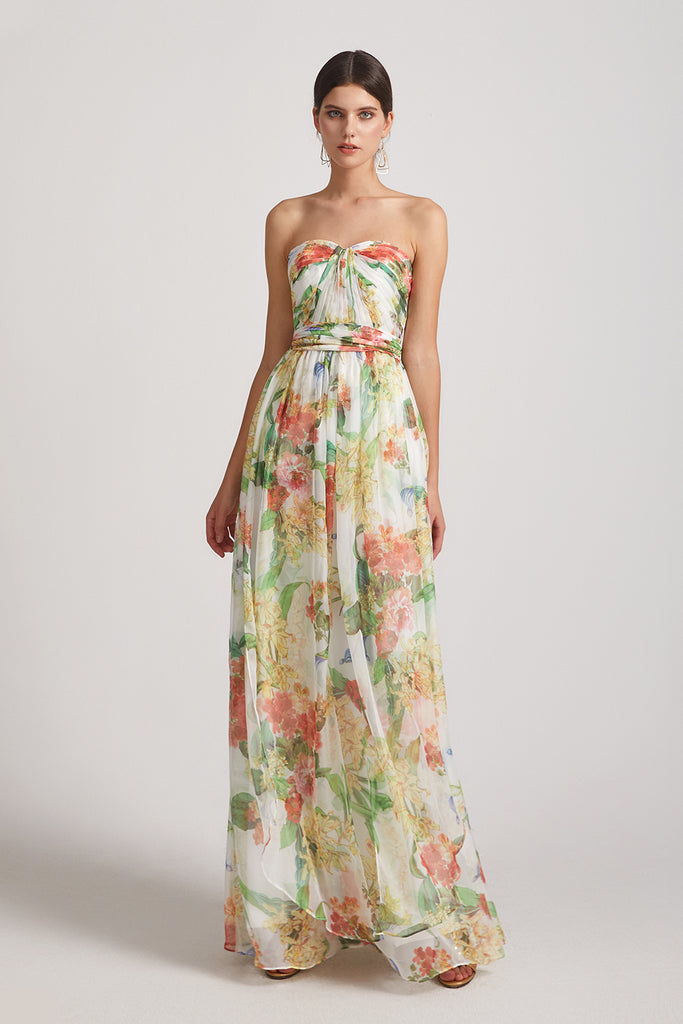 floral chiffon bridesmaid gowns