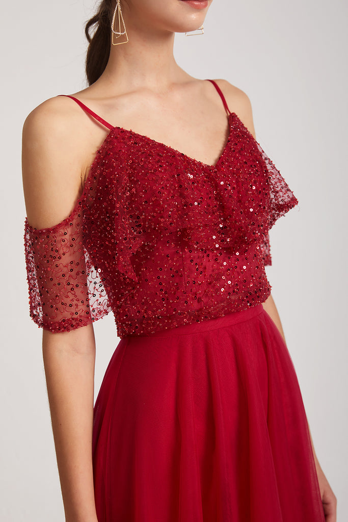 cold shoulder sequin maid of honor dress
