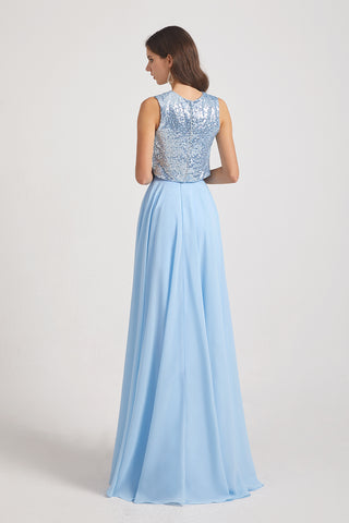 sleeveless sequin a-line bridesmaid gown