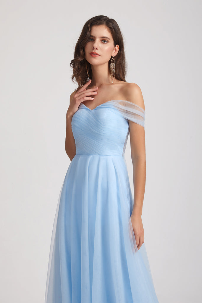 changeable tulle sky blue bridesmaid dress
