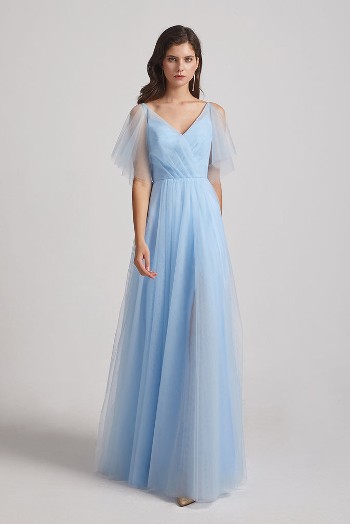 flutter sleeve tulle maids of honor dresses