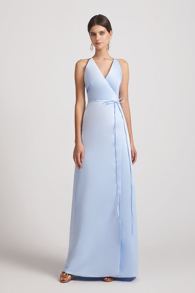 sky blue satin Faux Wrap Bridesmaid Dresses