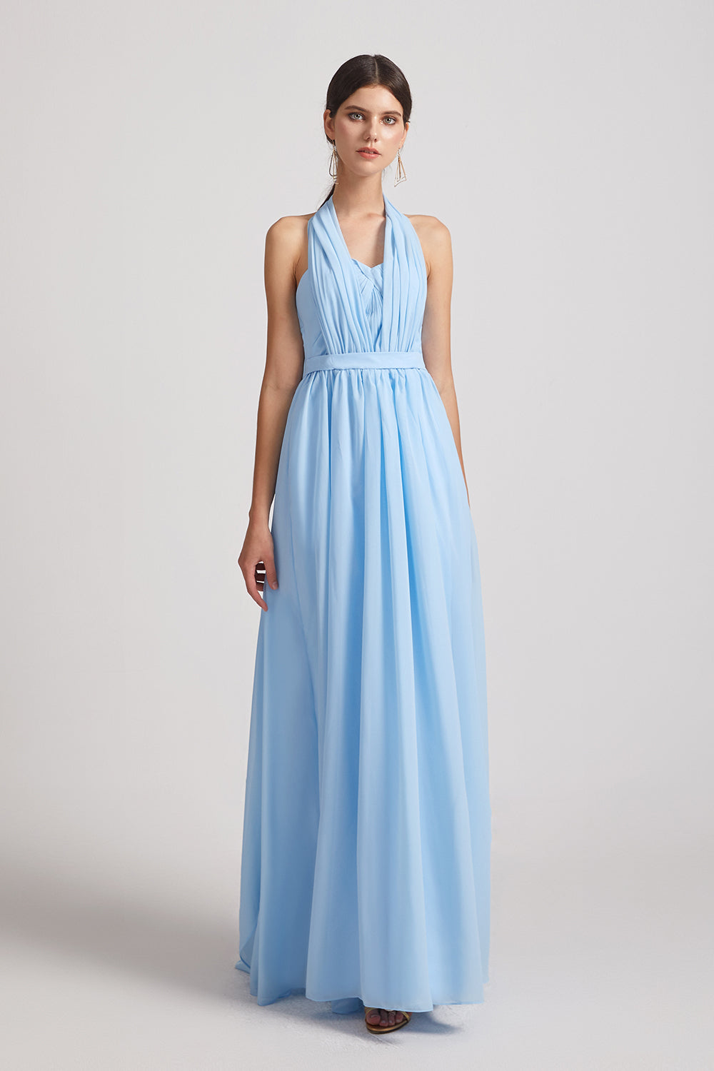 sky blue chiffon convertible bridasmaids dresses