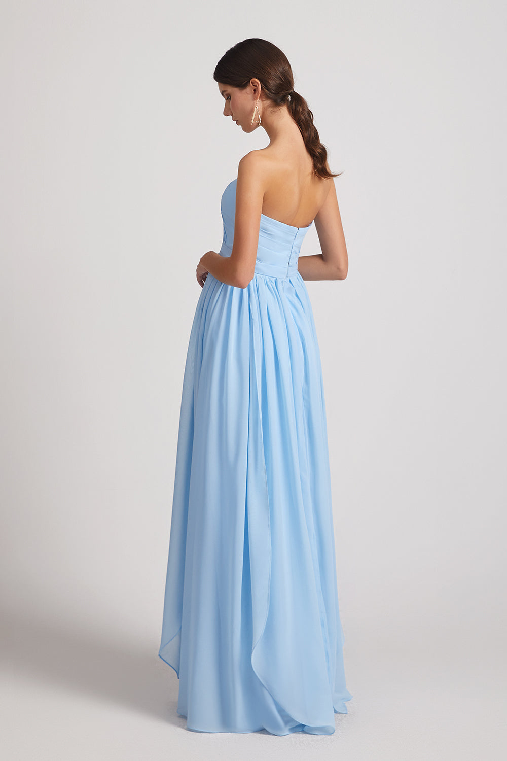 open back sleeveless chiffon bridesmaid gowns