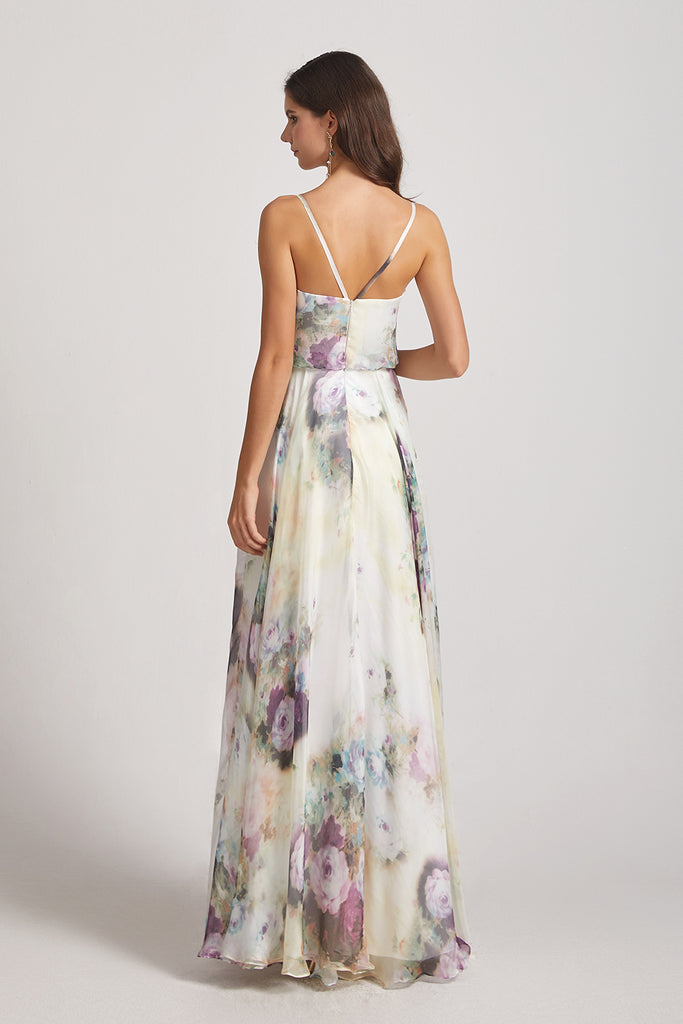 backless chiffon floral bridesmaid dresses