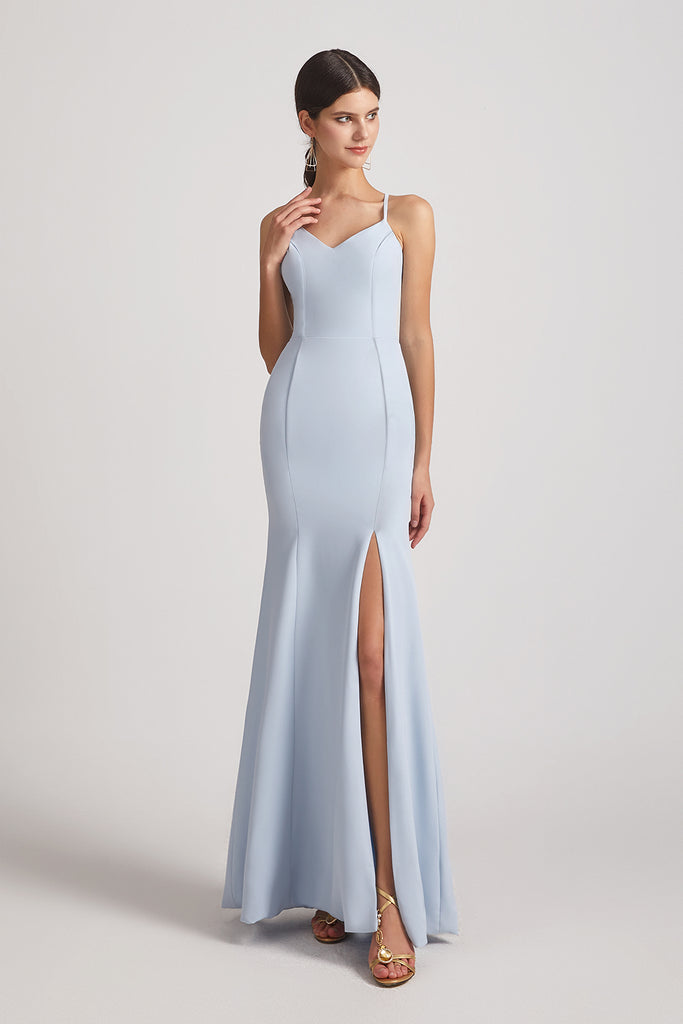 sleeveless sheath bridesmaids gowns