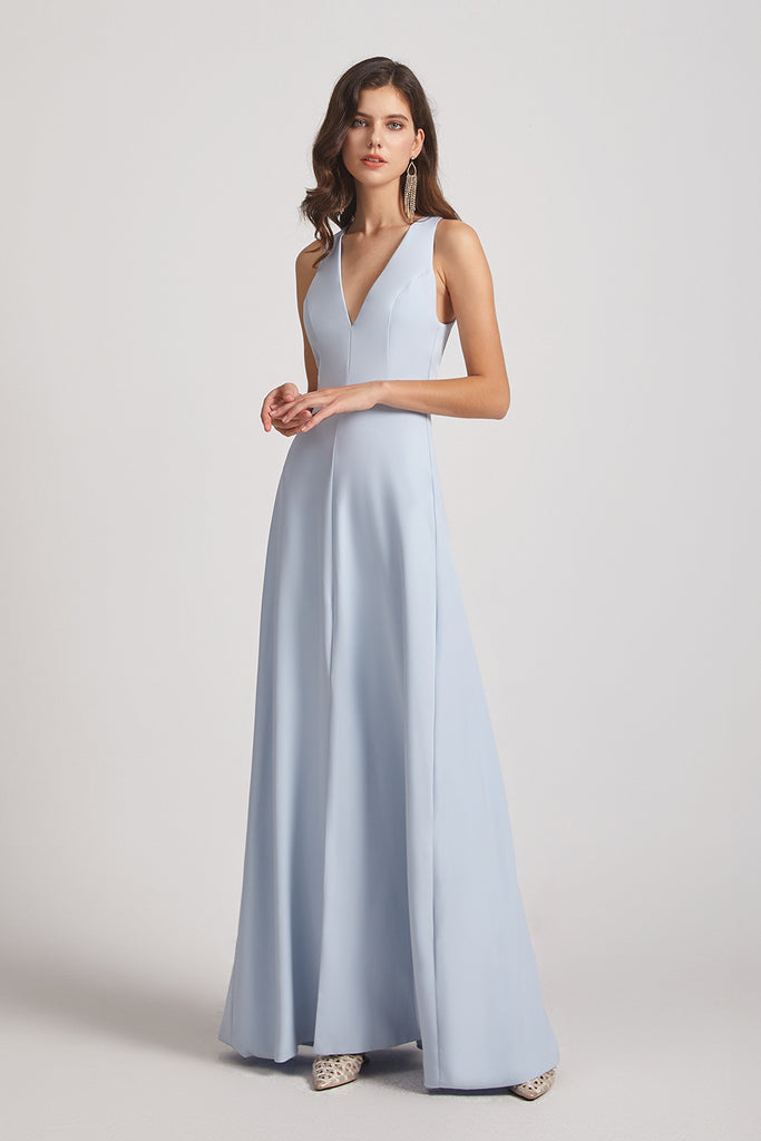 deep v-neck bridesmaid dresses