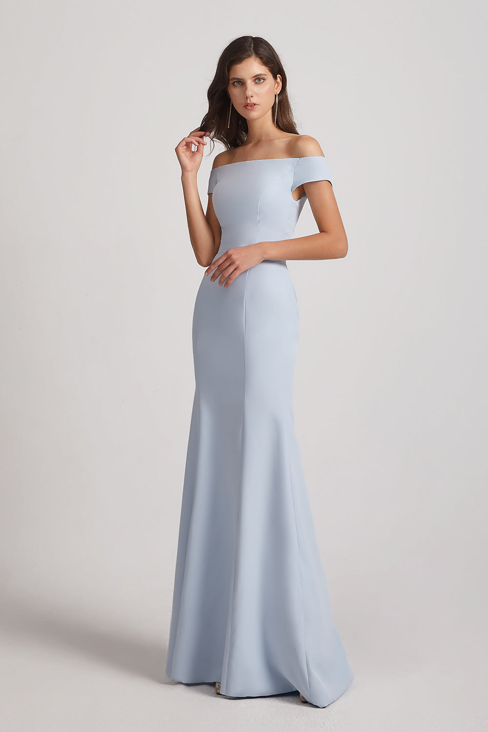 floor length off-the-shoulder formal dress