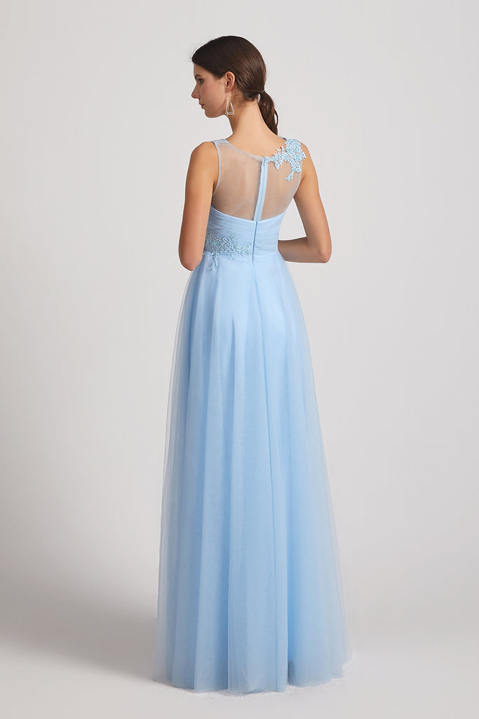 illusion back sleeveless blue bridesmaid dresses