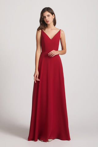 v-neck chiffon maids of honor dresses