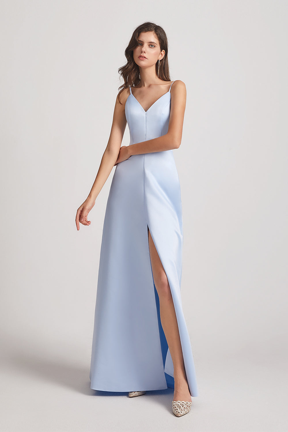v-neck sleeveless cheap satin gowns