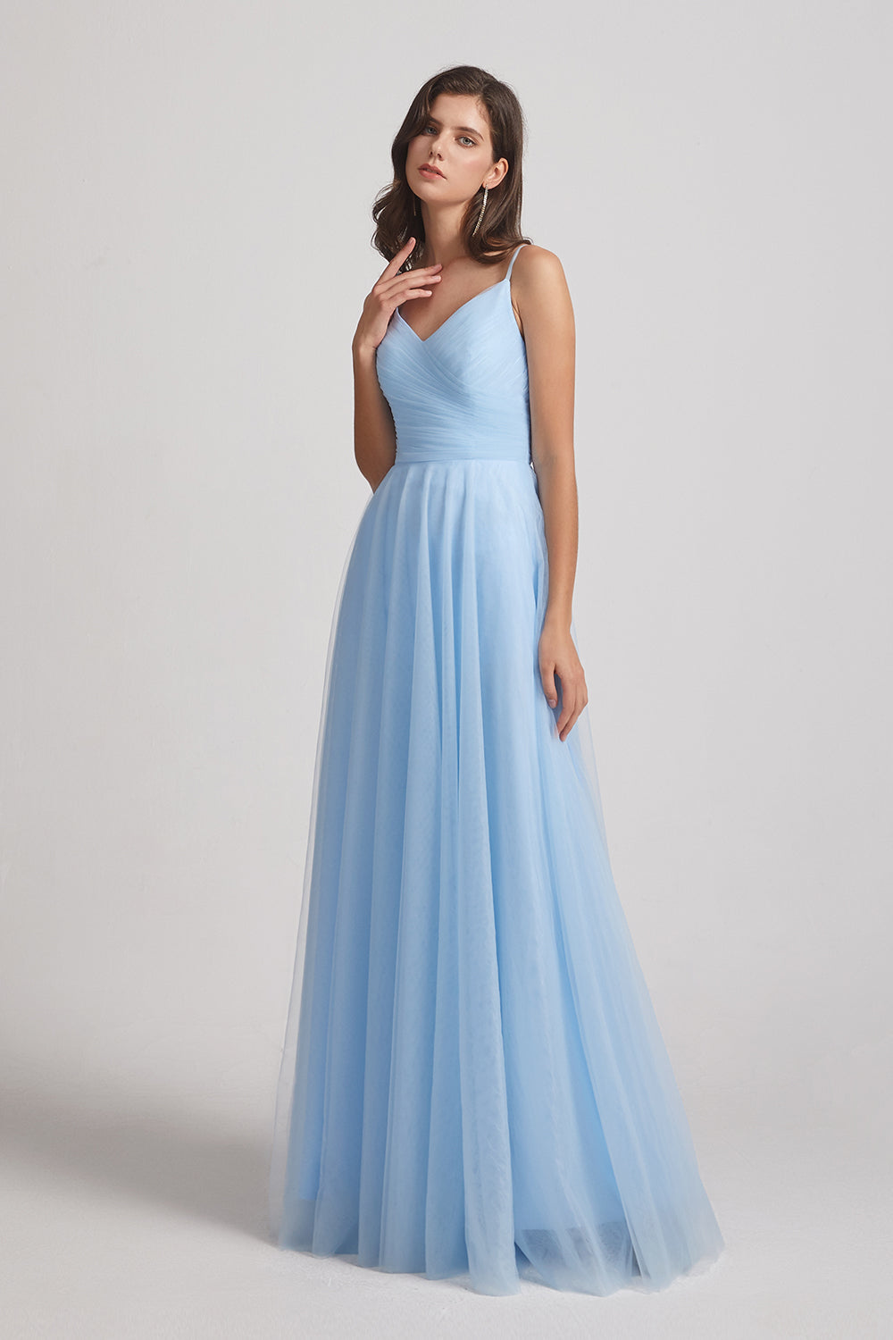 spaghetti straps long tulle bridesmaid gown
