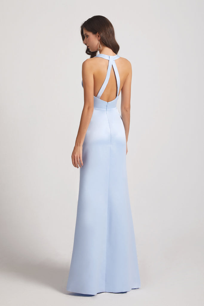 backless sheath sky blue bridesmaid dresses