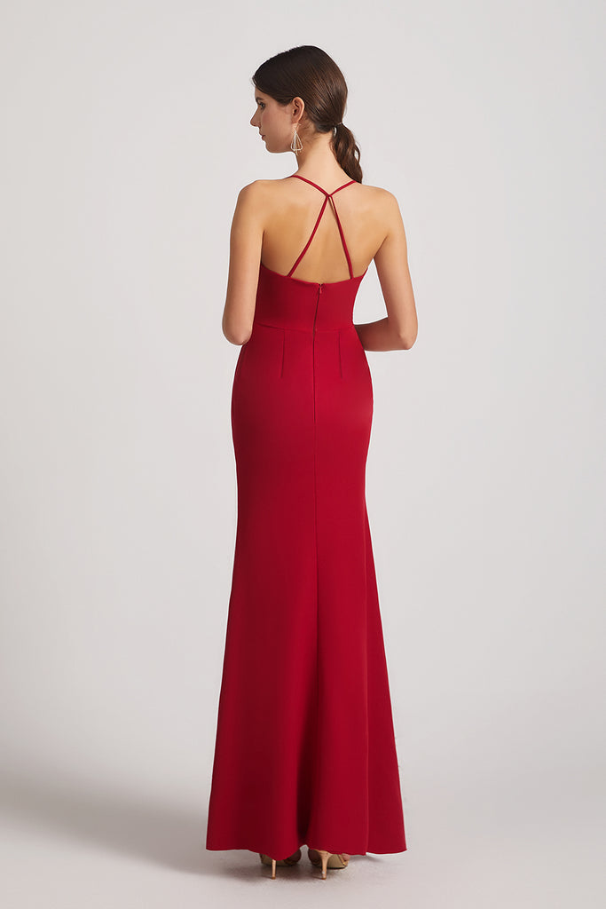open back red maxi maid of honor dresses