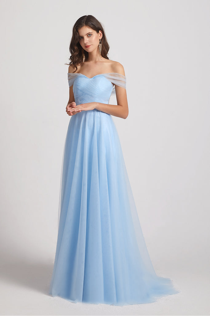 convertible blue tulle  bridesmaid dress