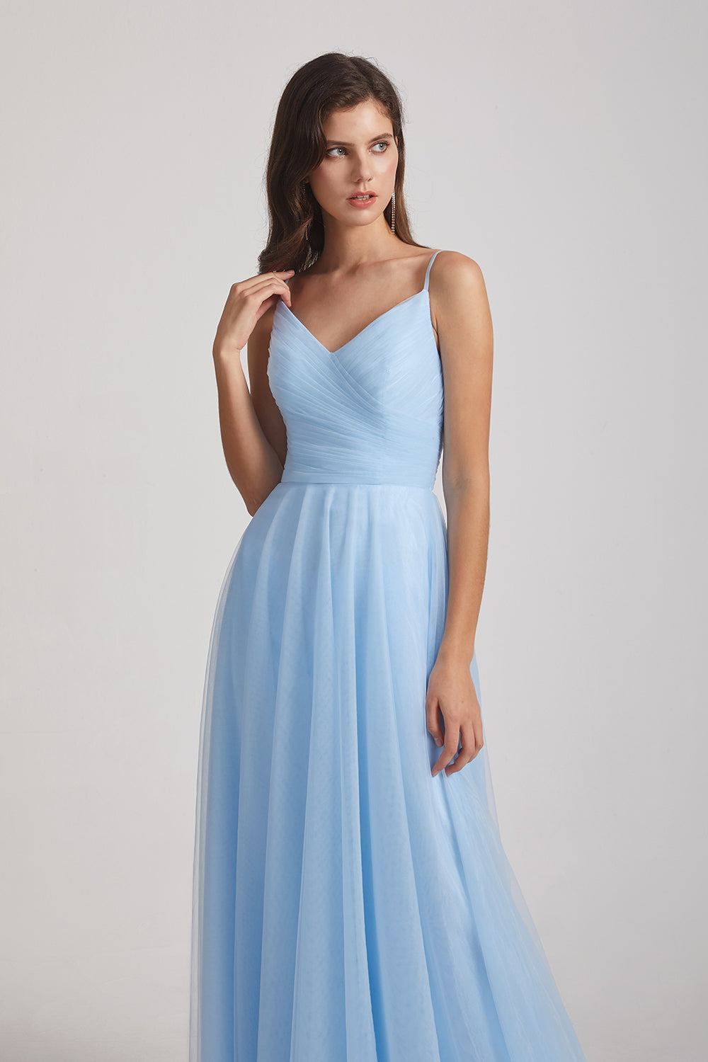 blue sleeveless a-line bridesmaids gowns