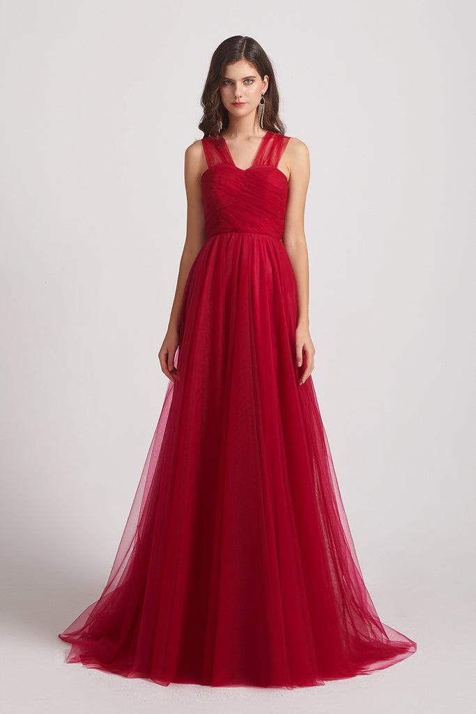 a-line convertible tulle bridesmaid dress