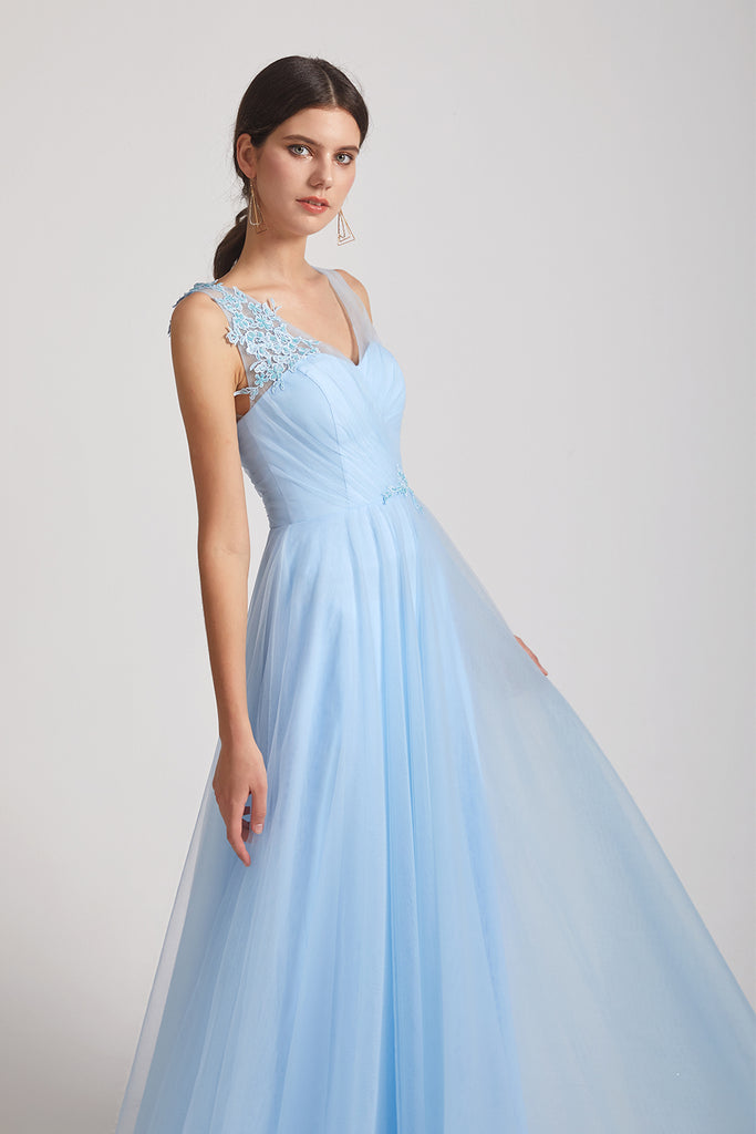 applique sky blue tulle maid of honor dresses