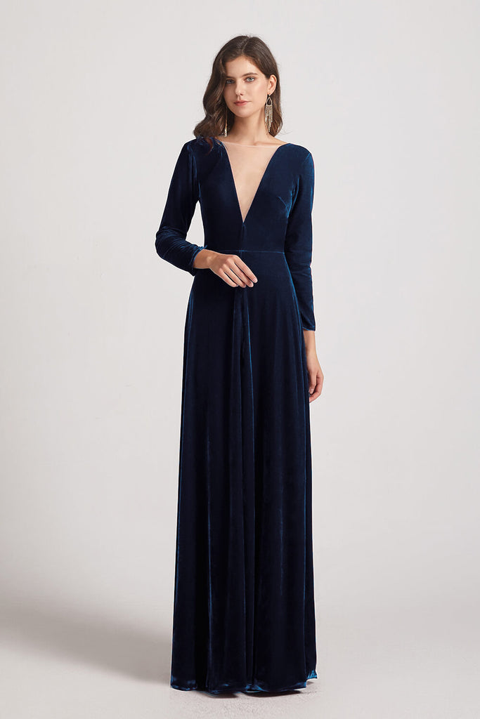 Navy Velvet Bridesmaid Dresses