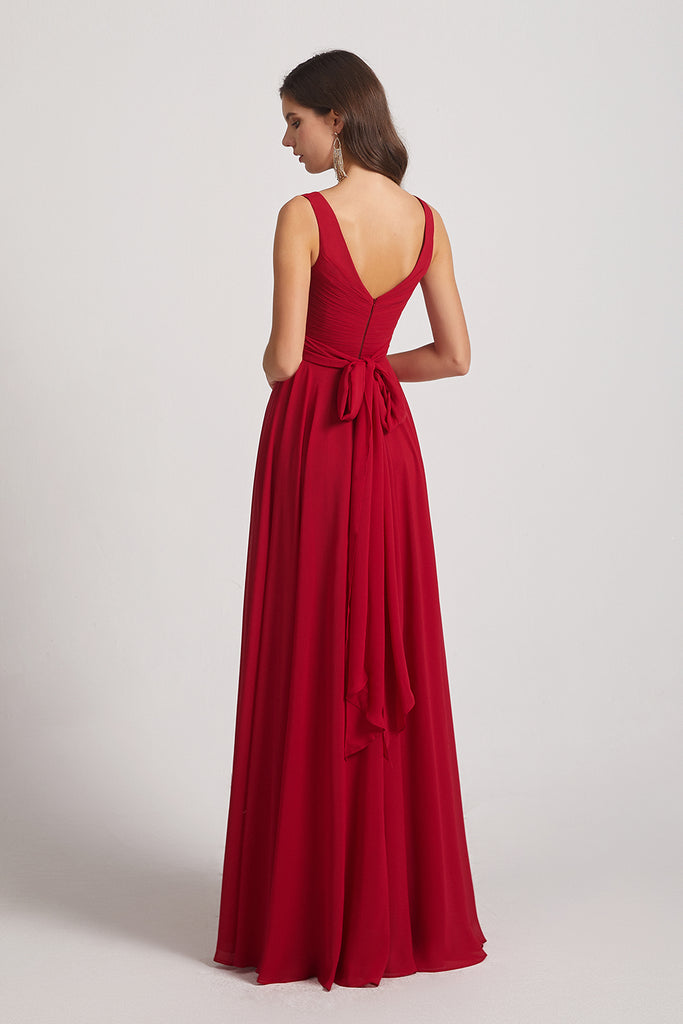 v-back chiffon maxi bridesmaids gown