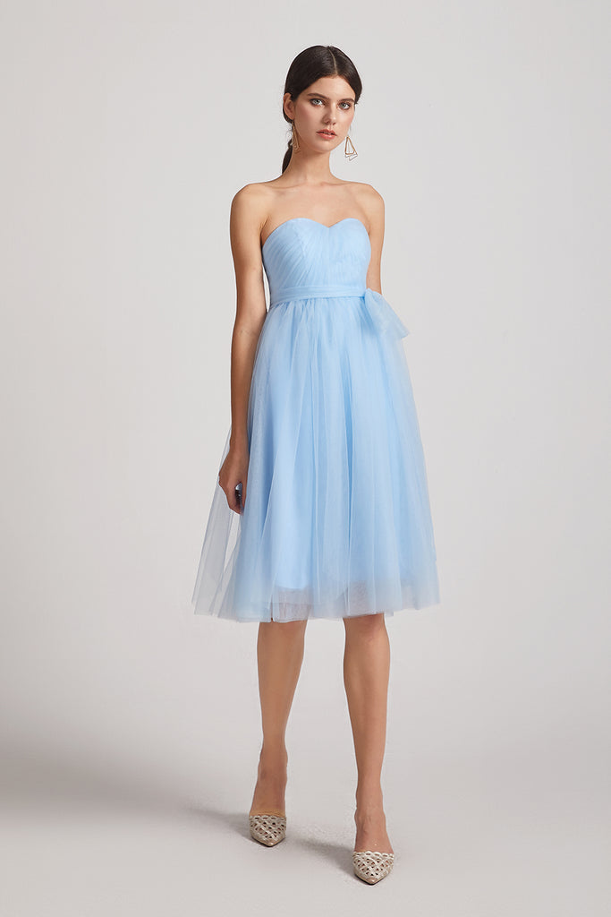strapless sweetheart short bridesmaid dress