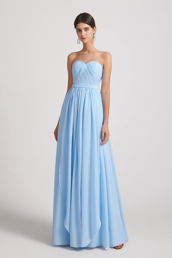 cheap convertible blue chiffon maid of honor dresses
