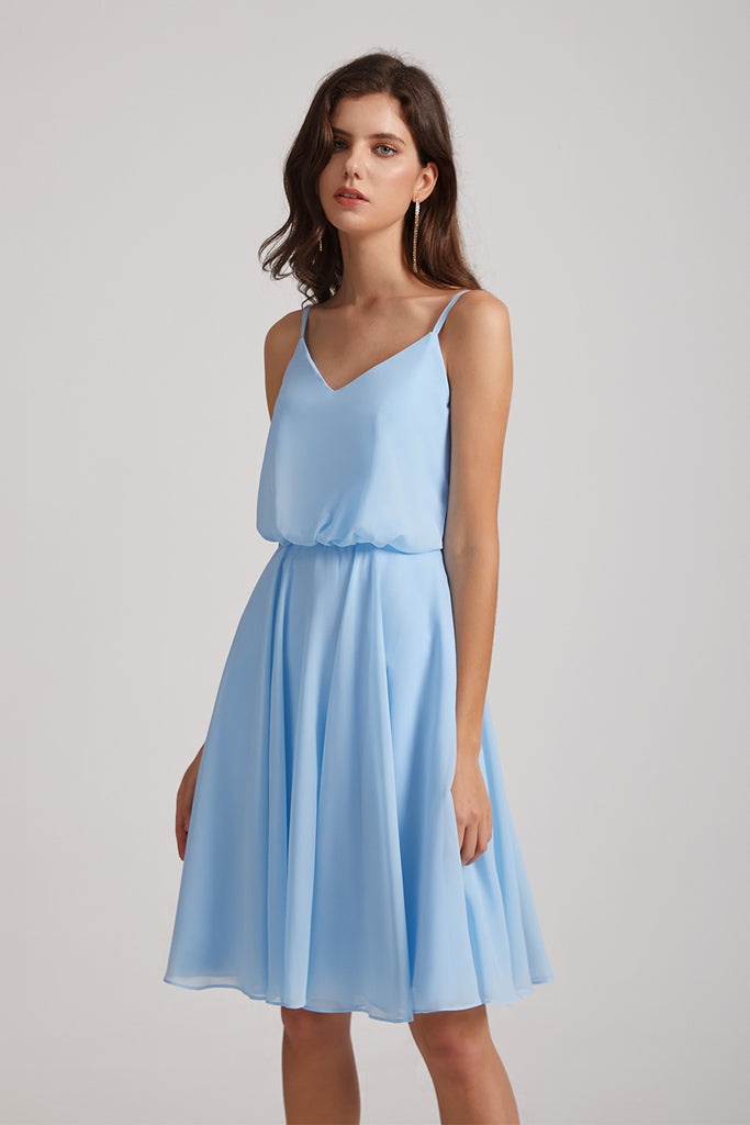 sky blue short bridesmaid dresses