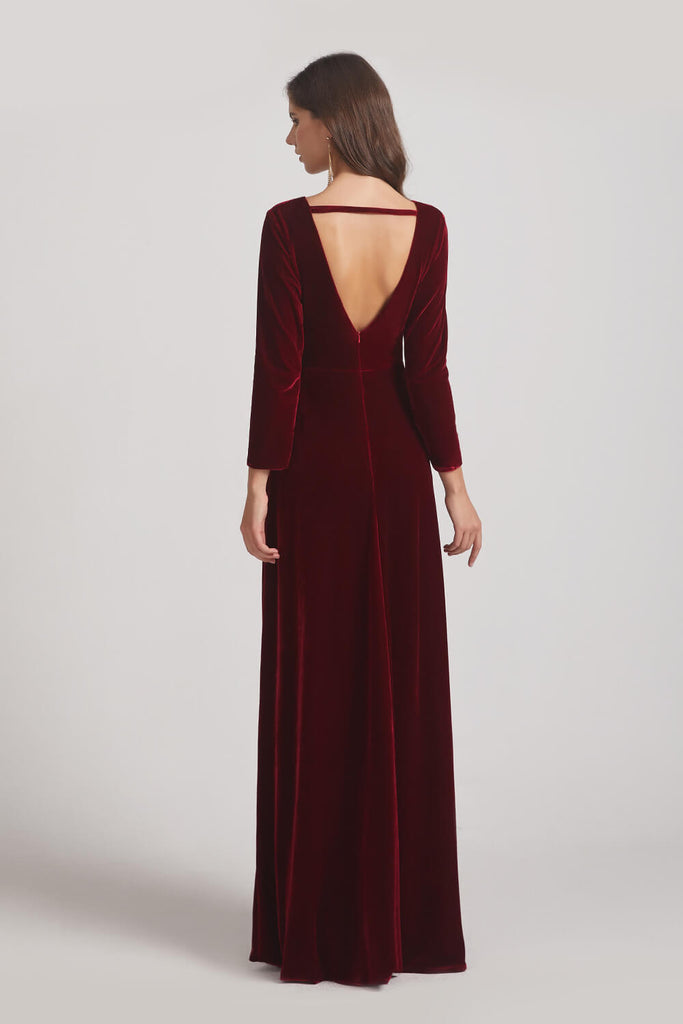 Illusion V-neck Velvet Bridesmaid Dresses