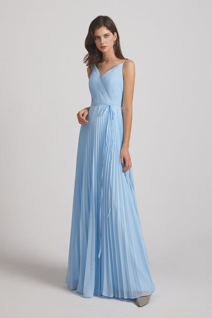floor length blue pleated a-line maids of honor dress