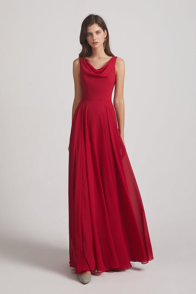 floor length cowl chiffon bridesmaid gown