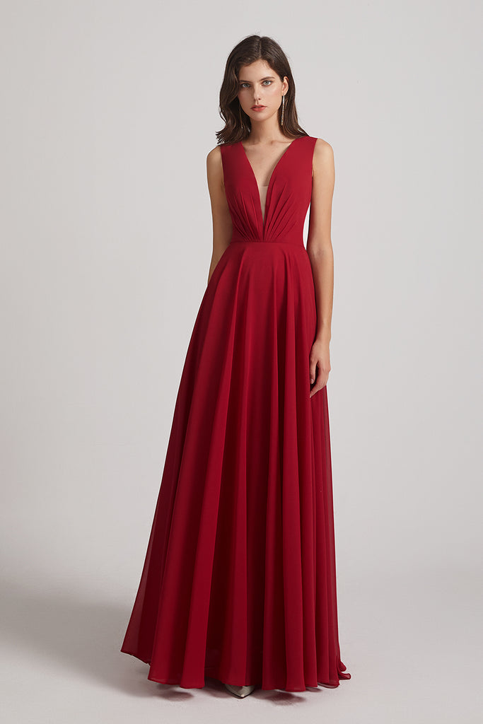 sleeveless  floor length bridesmaids dresses