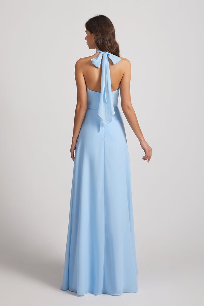 backless bridesmaid gown for party