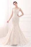 Mermaid V-neck Lace Ivory/Champagne Wedding Dresses