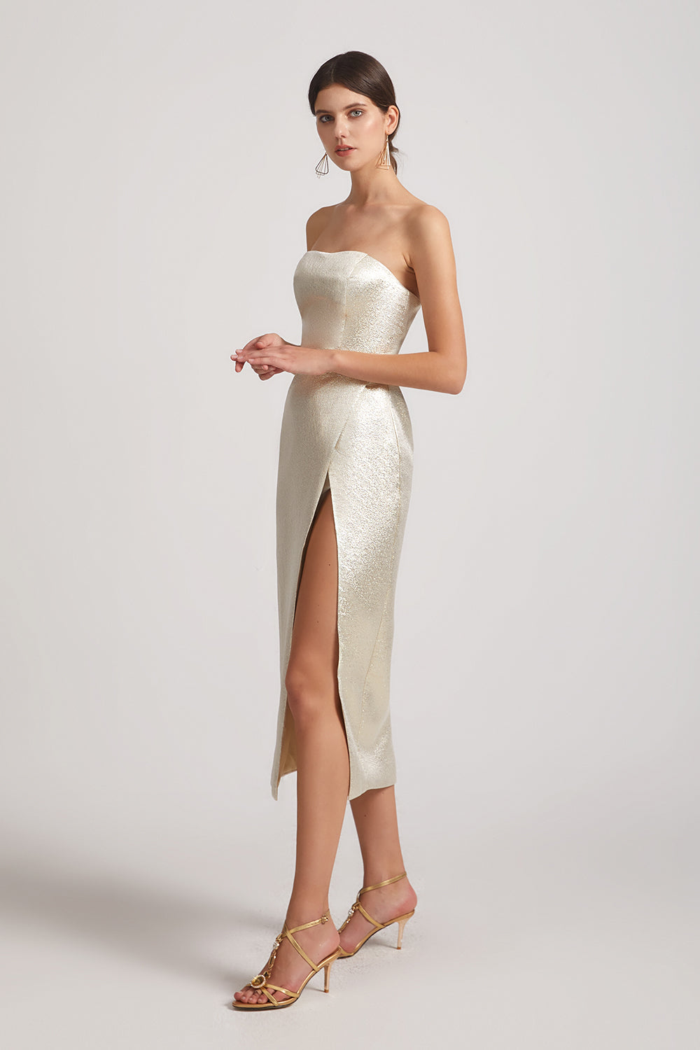 metallic cocktail gown