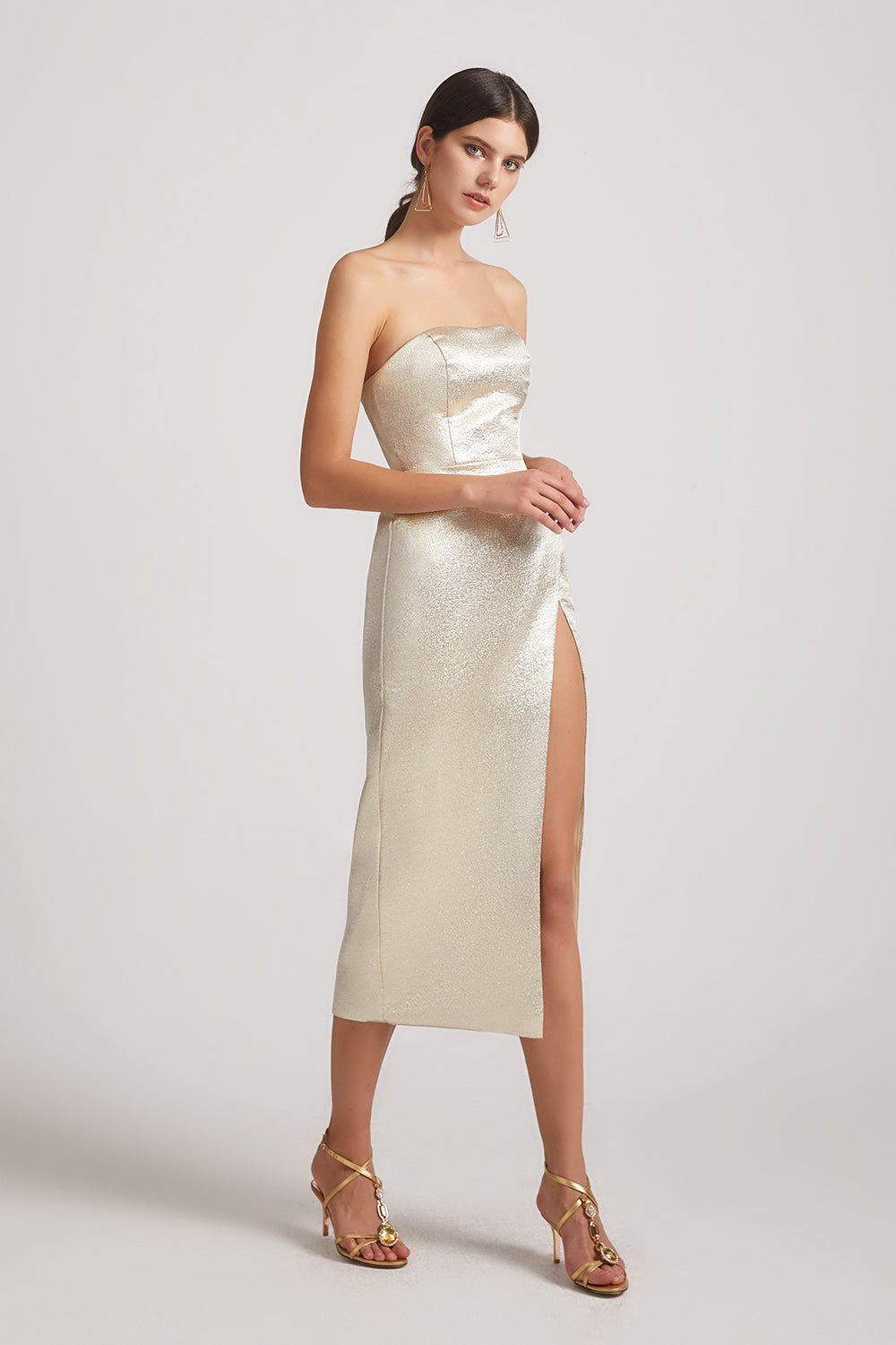 long split metallic maid of honor dress