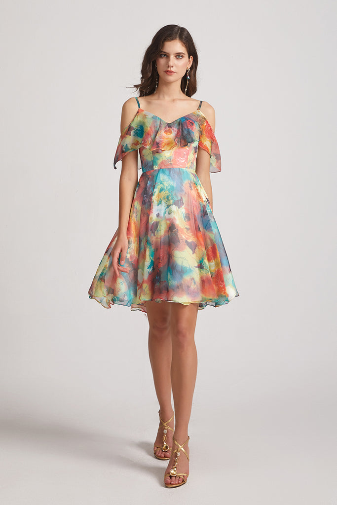 mismatched floral maid of honor dress