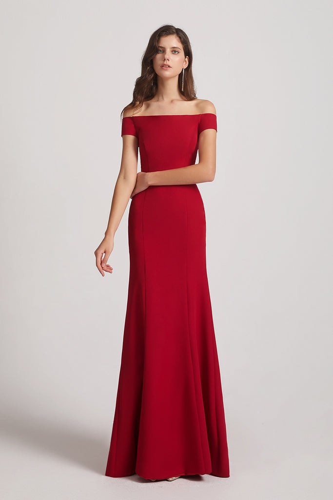 floor length off-the-shoulder bridesmaid dress