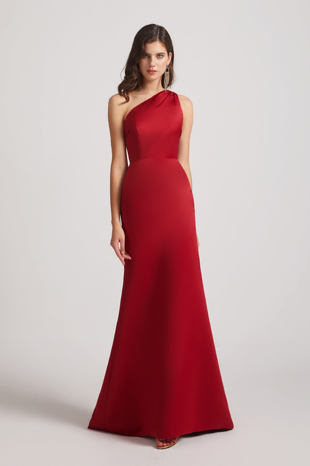 red satin long maids of honor dresses