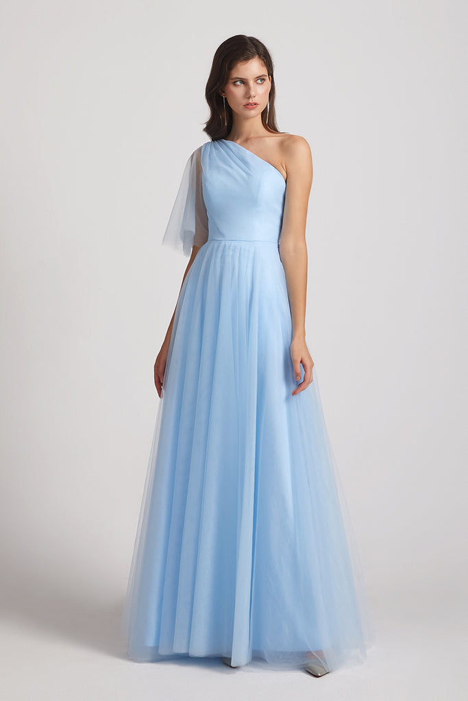 blue tulle a-line dress for bridesmaid